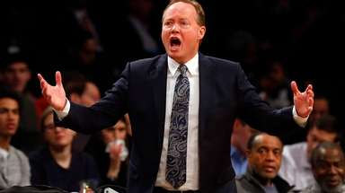 Head coach Mike Budenholzer, coaching the Atlanta Hawks