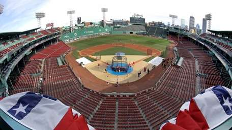 Bunting billows up in the wind at Fenway