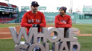 The Red Sox's J.D. Martinez speaks with Mookie