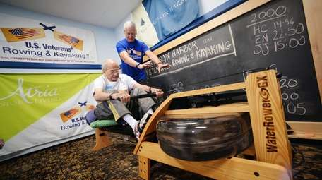 Herbert Chavkin, 97, works out on an indoor
