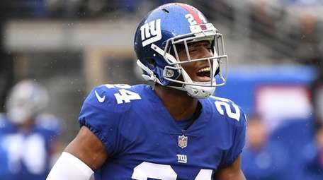 Giants cornerback Eli Apple reacts against the Jaguars