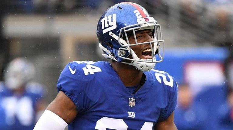 Giants cornerback Eli Apple reacts against the Jaguars