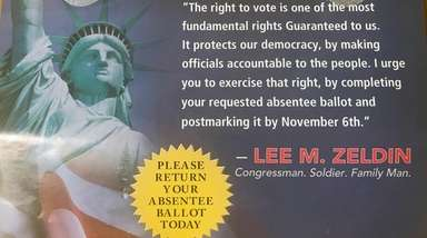A mailer for Rep. Lee Zeldin's campaign erroneously