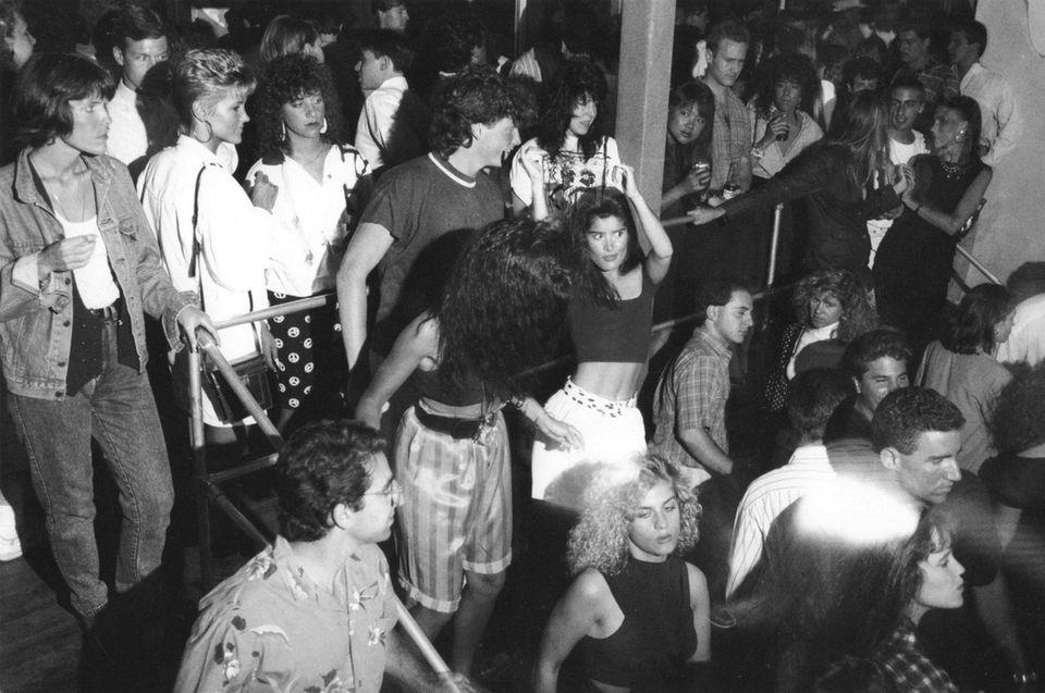 The dance floor is packed at Danceteria in