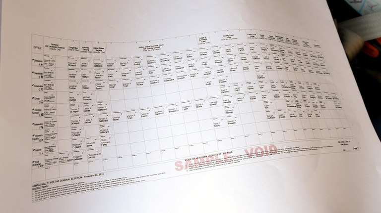 An absentee ballot at the Board of Elections