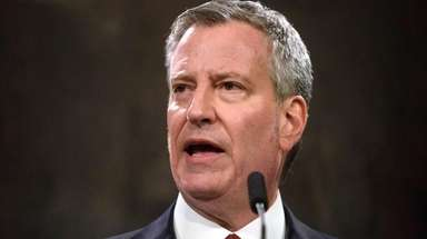 New York City Mayor Bill de Blasio, pictured