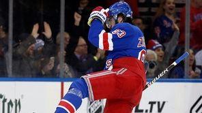 The Rangers' Mika Zibanejad celebrates his second goal