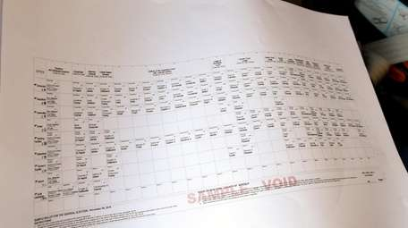 A sample ballot is seen Tuesday at the
