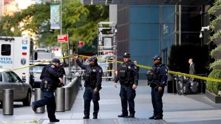 New York City Police Department officers arrive at