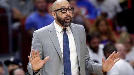 Knicks coach David Fizdale watches during the first
