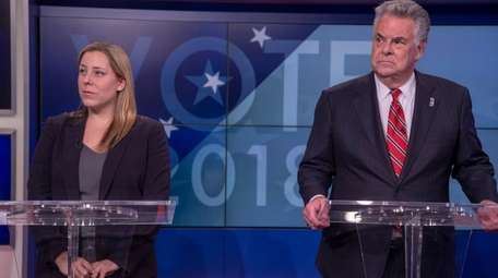 Congressman Peter King and Democratic challenger Liuba Grechen
