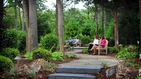 People enjoy the scenery in Sachem Public Library's