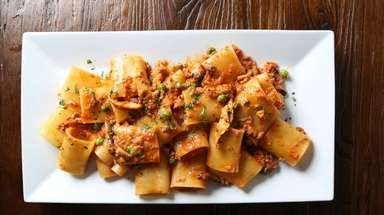 Paccheri alla piselli, with peas, pancetta and shiitakes,