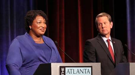 Democratic gubernatorial candidate for Georgia Stacey Abrams, left,