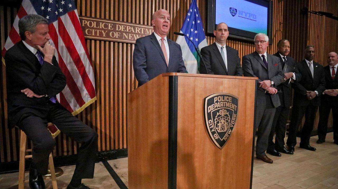 New York City Mayor Bill de Blasio, speaking