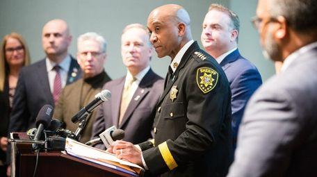 Suffolk County Sheriff Errol Toulon at a news