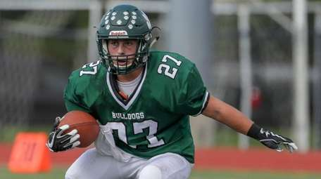 Mike Anderson #27 of Lindenhurst carries the ball