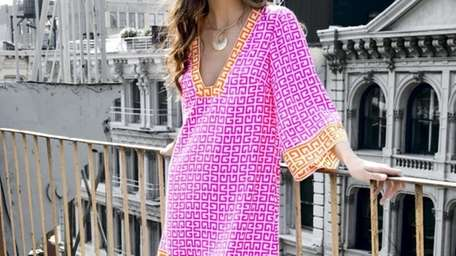 This colorful silk tunic style dress is available