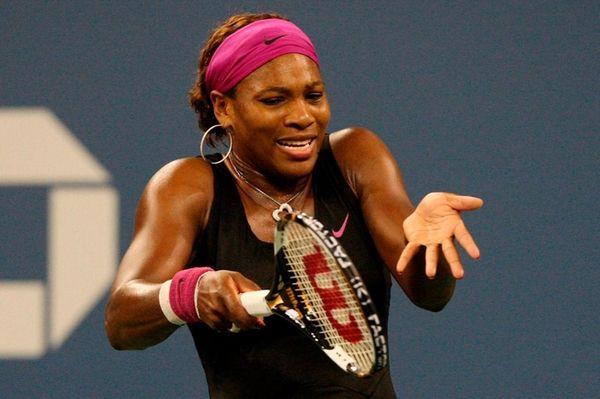 Serena Williams hits a return at the U.S.