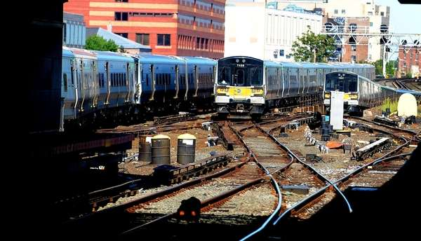 LIRR trains leave Jamaica station and head east.