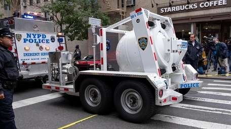 The NYPD's Bomb Squad arrives to investigate the