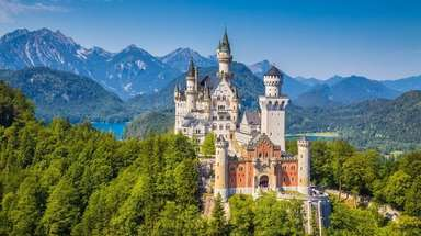 Beautiful view of world-famous Neuschwanstein Castle, the nineteenth-century