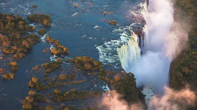The awe-inspiring cascade of Victoria Falls in Zimbabwe.