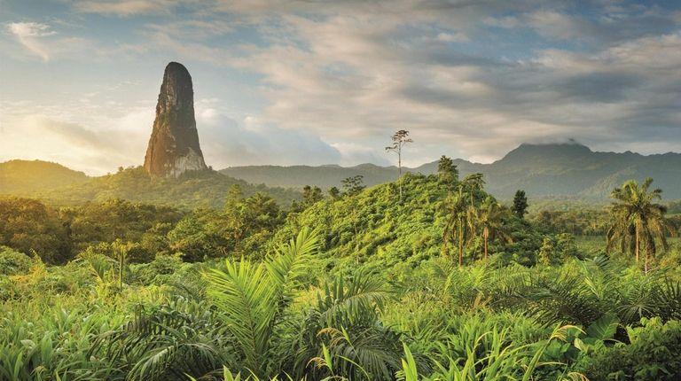 The 668m-high Pico Cão Grande rock tower on
