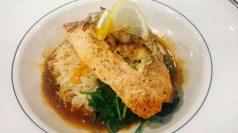 Crab-stuffed salmon at The Harrison in Floral Park.