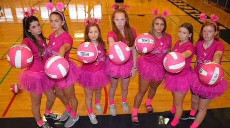Members of Massapequa High School's girls volleyball team