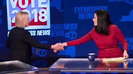 Sen. Kirsten Gillibrand (D-N.Y.) left, and Republican candidate