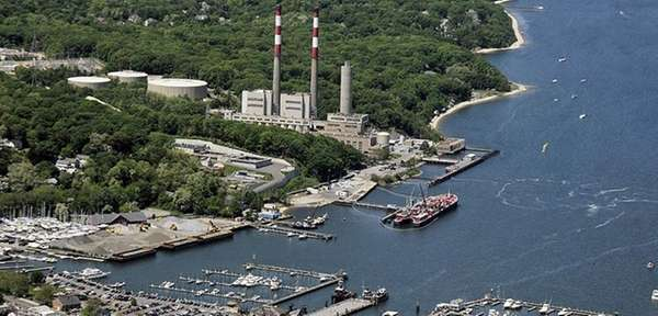 The National Grid plant in Port Jefferson Harbor