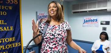 Letitia James speaks at her campaign rally on