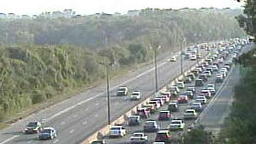 Traffic on the Southern State Parkway was snarled
