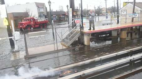 Heavy flooding near the LIRR track fire in