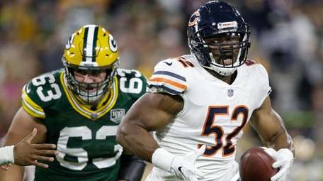 Chicago's Khalil Mack intercepted a pass and