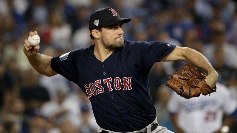 Boston Red Sox starting pitcher Nathan Eovaldi throws