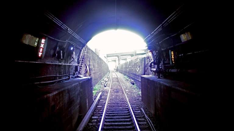 The eastern end of an East River tunnel