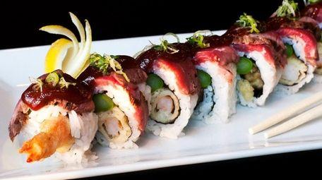 A surf & turf roll with shrimp tempura