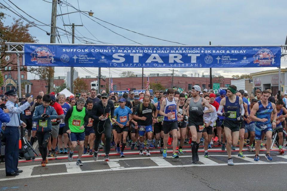 Runners start the 4th Annual Suffolk County Marathon
