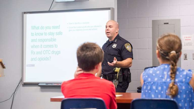Shelter Island Town Police Officer Anthony Rando teaches