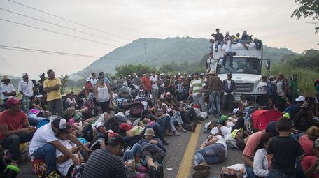 Central Americans in Arriaga, Chiapas, Mexico, on Saturday