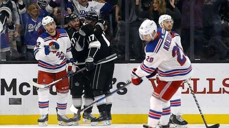 Los Angeles Kings defenseman Alec Martinez celebrates with