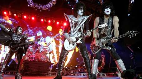 Kiss perform during the opening show for the
