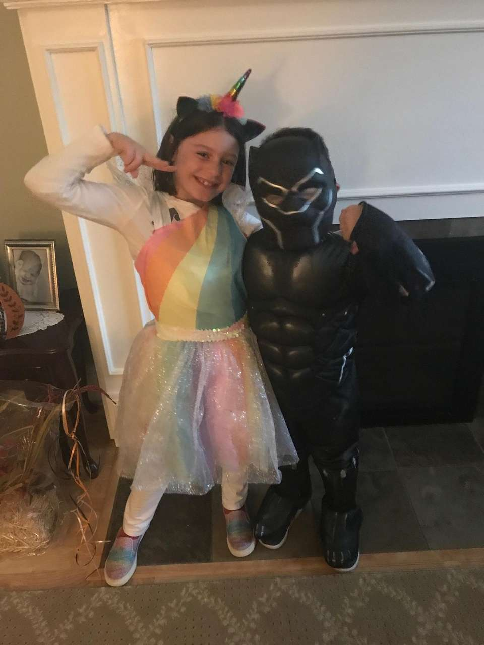 Rainbow unicorn and Black Panther are ready for