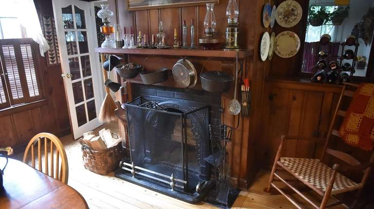 The original fireplace still stands in the 1747