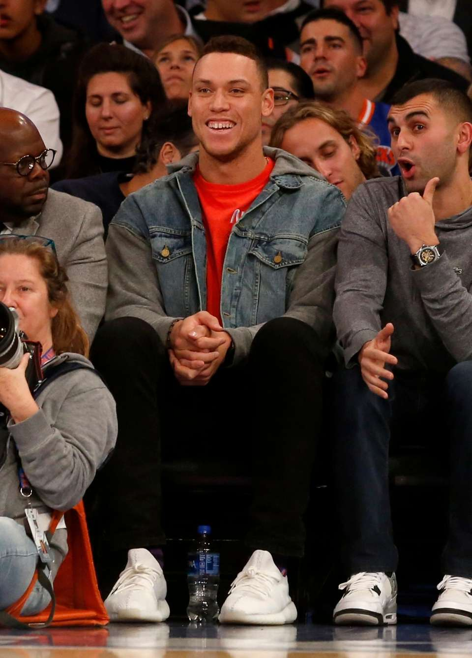 Aaron Judge attends a game between the New