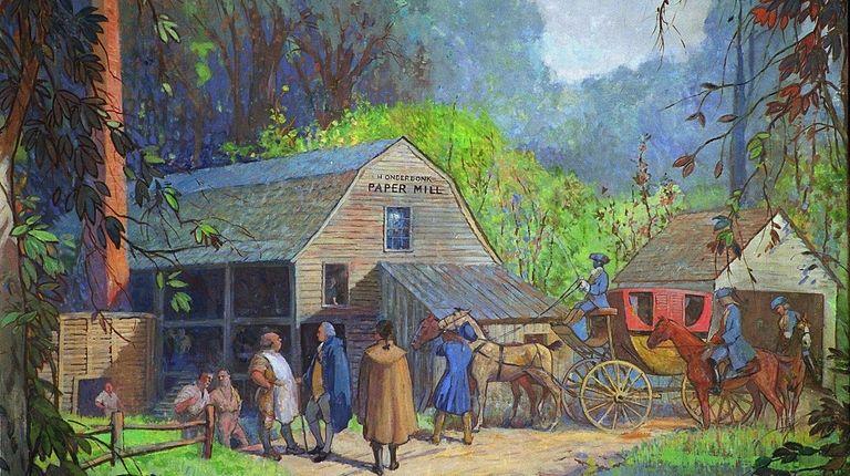 Mill owner Hendrick Onderdonk speaks with George Washington