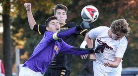 St. Anthony's goalkeeper Anthony Badalamenti clears the ball