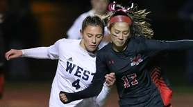 Smithtown West's Emily Leverich (4) and Hall Hollow